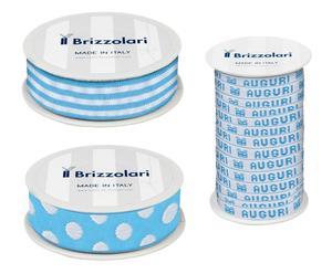 Set di 3 rocchetti di nastro in tessuto Baby - azzurro