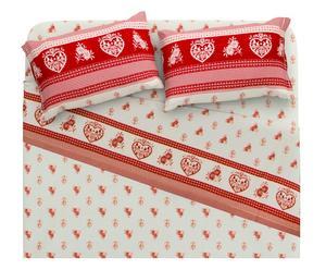 Completo letto matr. in cotone Tirolo - rosso