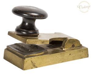 Timbro a rilievo in ottone e legno Italia inizio \'900 - 5x9 cm
