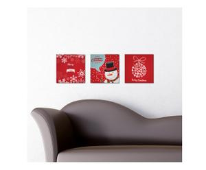 Set di 3 quadretti adesivi in forex Babbo Natale - 25x25 cm