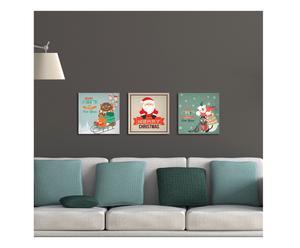 Set di 3 quadretti adesivi in forex Natale Vintage - 25x25 cm