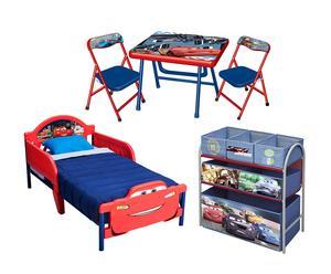 Set da cameretta con letto, tavolo, sedie e scaffala Cars - 5 pz