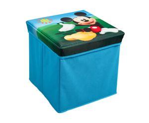 Pouf contenitore pieghevole in tnt Mickey - 27x27 cm