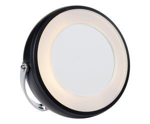 Specchio luminoso con ingranditore nero - 14x3 cm
