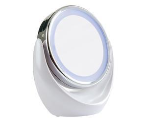 Specchio luminoso con ingranditore bianco - 18x20x11 cm