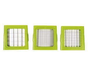 Tagliaverdura con 3 reticoli in acciaio intercambiabili - 12x11x21 cm