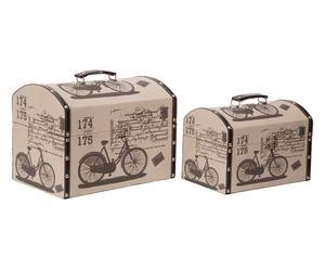 Set di 2 bauli in mdf e cotone Bicycle - max 33x25x22 cm