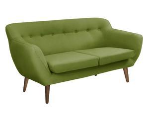 Divano a 3 posti in poliestere e faggio Jen verde - 180x84x81 cm
