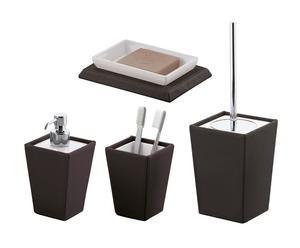 Set da bagno in ceramica ed ecopelle Wenge\' - 4 pz