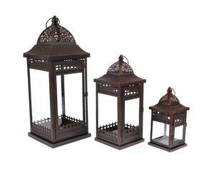 Set di 3 lanterne in metallo Etiopia - max 30x60x20 cm