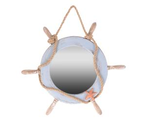 Specchio da parete in mdf Timone azzurro e naturale - 38x3x38 cm