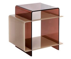 Tavolino comodino in plexiglass 70\'s caffelatte - 45x47x33 cm