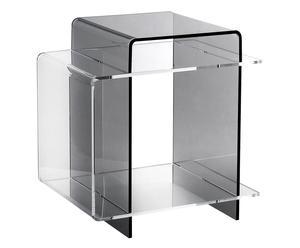 Tavolino comodino in plexiglass 70\'s fume\' - 45x47x33 cm