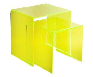 Tavolino comodino in plexiglass 80\'s big - 55x56x44 cm