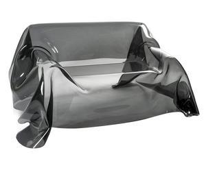 Divano 2 posti indoor/outdoor in plexiglass Drappeggi d\'autore fume\' - 200x85x120 cm