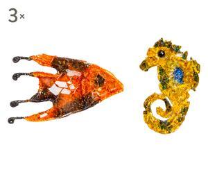Set di 6 spille in cristallo e vetro cavalluccio&pesce - 3x5 cm