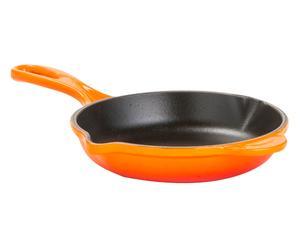Padella con doppio becco in ghisa arancione - 16x5x30 cm