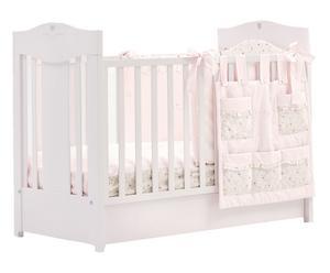 Lettino per bimbo Romantica bianco/rosa - 74x105x132 cm