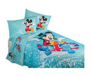 Copriletto per letto singolo in cotone panama - Mickey