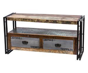 Mobile porta tv a 2 cassetti in ferro e legno riciclato Sofia - 120x60x40 cm