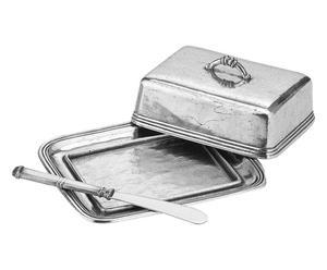 Burriera con coltello spalmaburro in peltro e acciaio - 17x14 cm