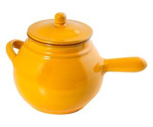 Cuocipatate in terracotta con coperchio giallo - 34x22x20 cm