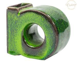 Portapenne in ceramica anni 60 verde - 10x5x8 cm