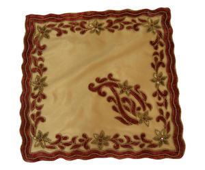 Federa per cuscino arredo in raso Xmas beige e bordeaux - 45x45x10 cm