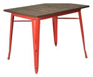 Tavolo in metallo Bistrot rosso/naturale  - 120x76x70 cm