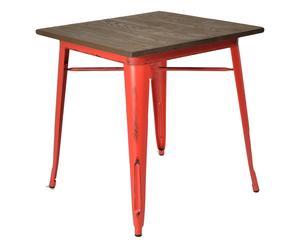 Tavolo in metallo Bistrot rosso/naturale  - 70x76x70 cm