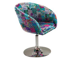 Poltroncina in cotone con base cromata Flowers - multicolor