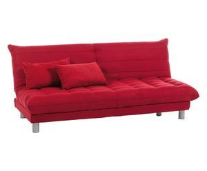 Divano letto in microfibra e legno rosso Matrix, 190x95x79 cm
