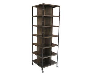 Libreria con ruote in ferro marrone, 66x210x66 cm