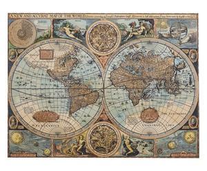 Planisfero in canvas World of 1626 multicolor, 66x51x4 cm