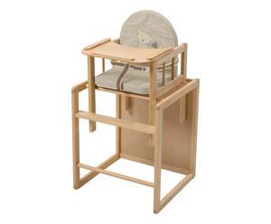 Seggiolone trasformabile in legno massello Grow Up orso, 54x88x46 cm