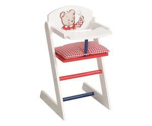 Seggiolone per bambole in legno Cucciolo bianco rosso e blu, 28x52x26 cm
