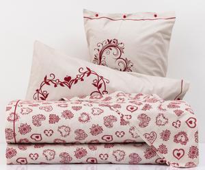 Completo letto matr. in cotone Cuore - panna/rosso