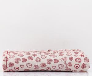 Telo arredo in cotone Cuore panna/rosso - 180x280 cm