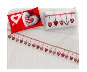 Completo letto matr. flanella di cotone Cuore - rosso