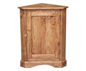 Angoliera 1 anta in legno massello di tiglio naturale, 50x92x50 cm