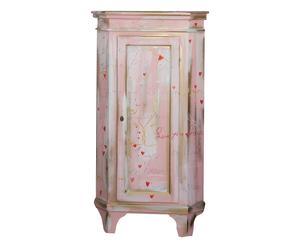 Angoliera in legno con anta Manet rosa, 52x139x52 cm