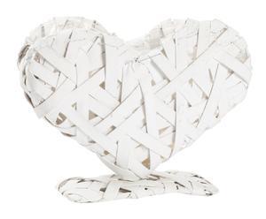 Portavaso a forma di cuore in vimini Marian, 28x22x10 cm