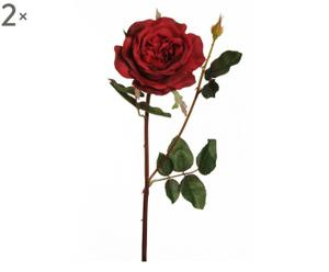 Set di 2 rose rosse inglesi decor fiore/gambo - h 69 cm