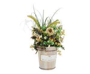 Tinozza con composizione di fiori artificiali, 38x57x40 cm
