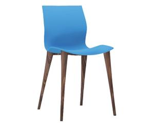 Sedia in poliuretano e rovere massicio Eva azzurro, 43x83x57 cm
