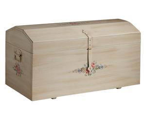 Baule in legno con decori floreali Nadine - 98x47x46 cm