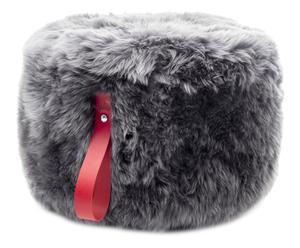 Pouf rotondo in legno e pelliccia di pecora grigio/rosso, 60x36 cm