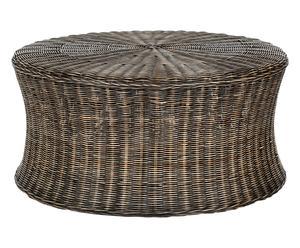 Pouf in rattan e legno di mango Martin marrone scuro, 81x39x81 cm