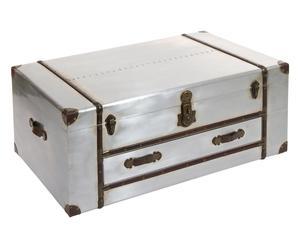 Tavolino a baule in mdf e metallo argento - 110x45x70 cm