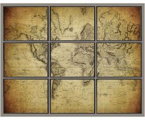Composizione di 9 stampe in legno e canvas Planisfero